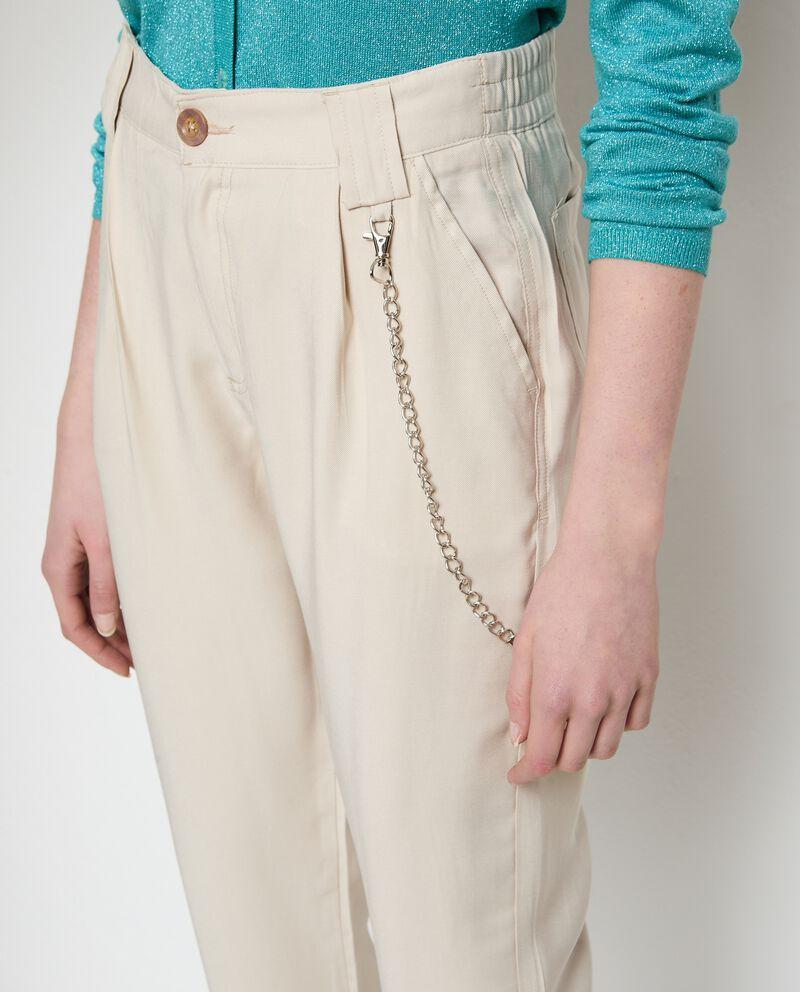 Pantaloni con catenina in viscosa stretch single tile 2