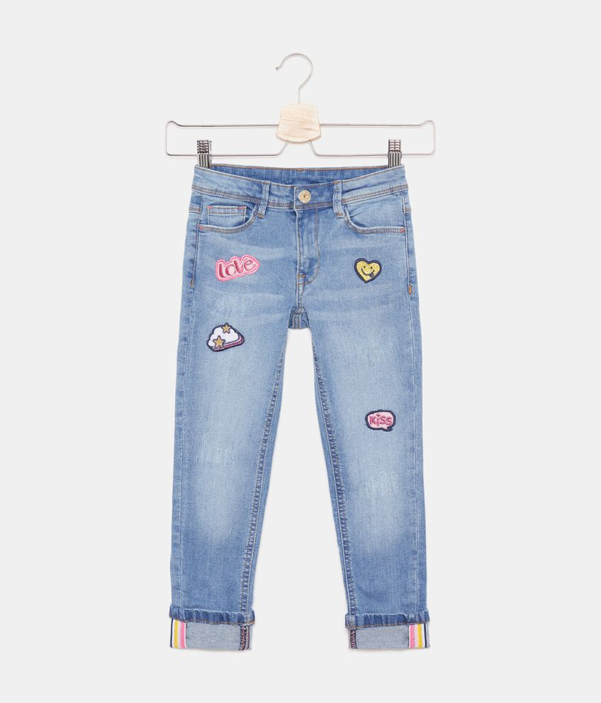 Jeans con patch applicati bambina