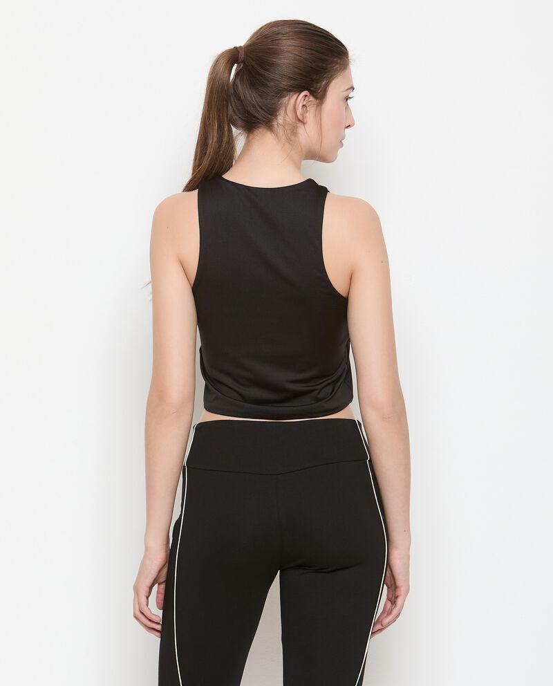 Top smanicato con zip Fitness donna