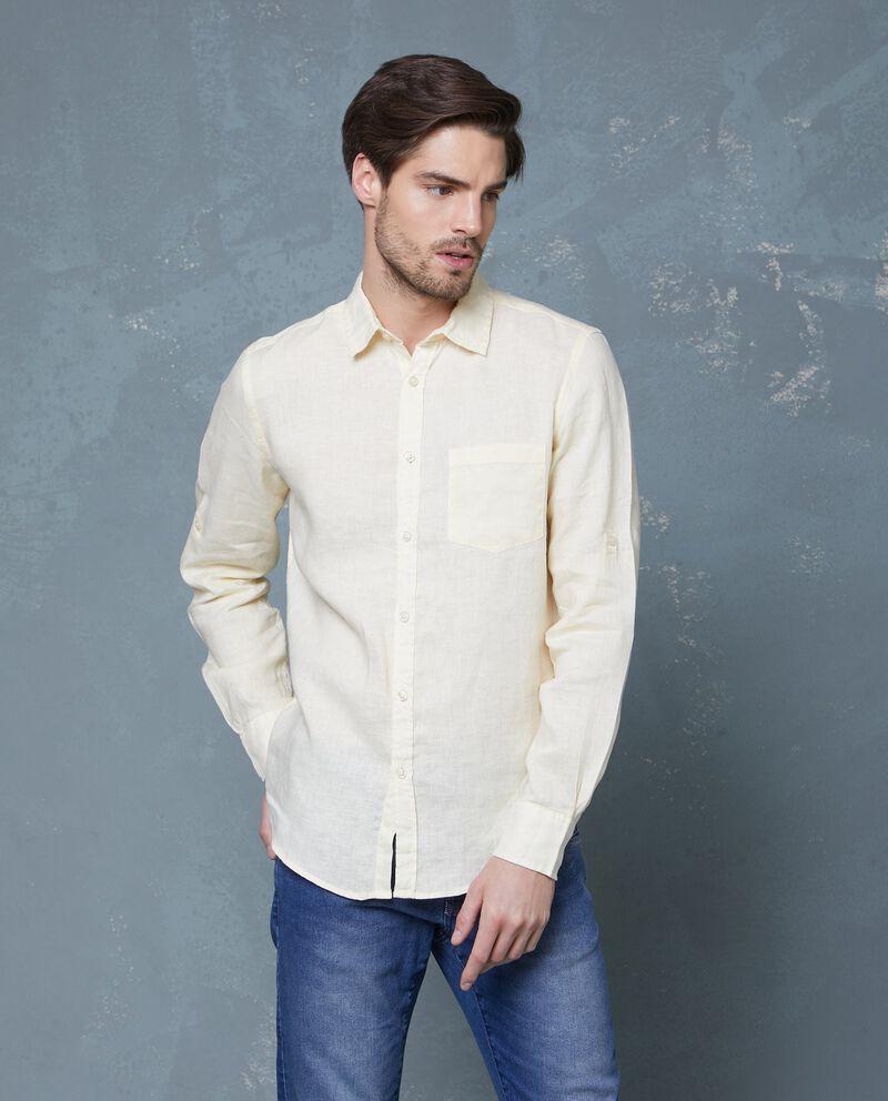 Camicia in puro lino bianca in tinta unita uomo