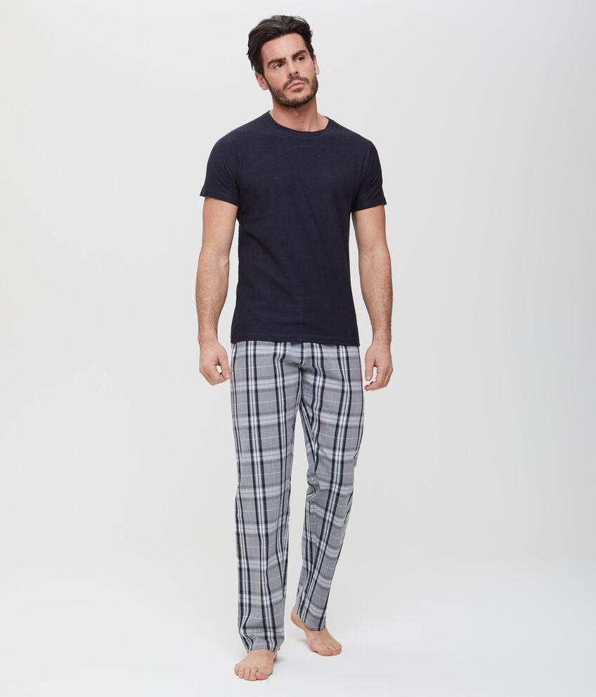 Pantaloni in puro cotone blu a quadri uomo