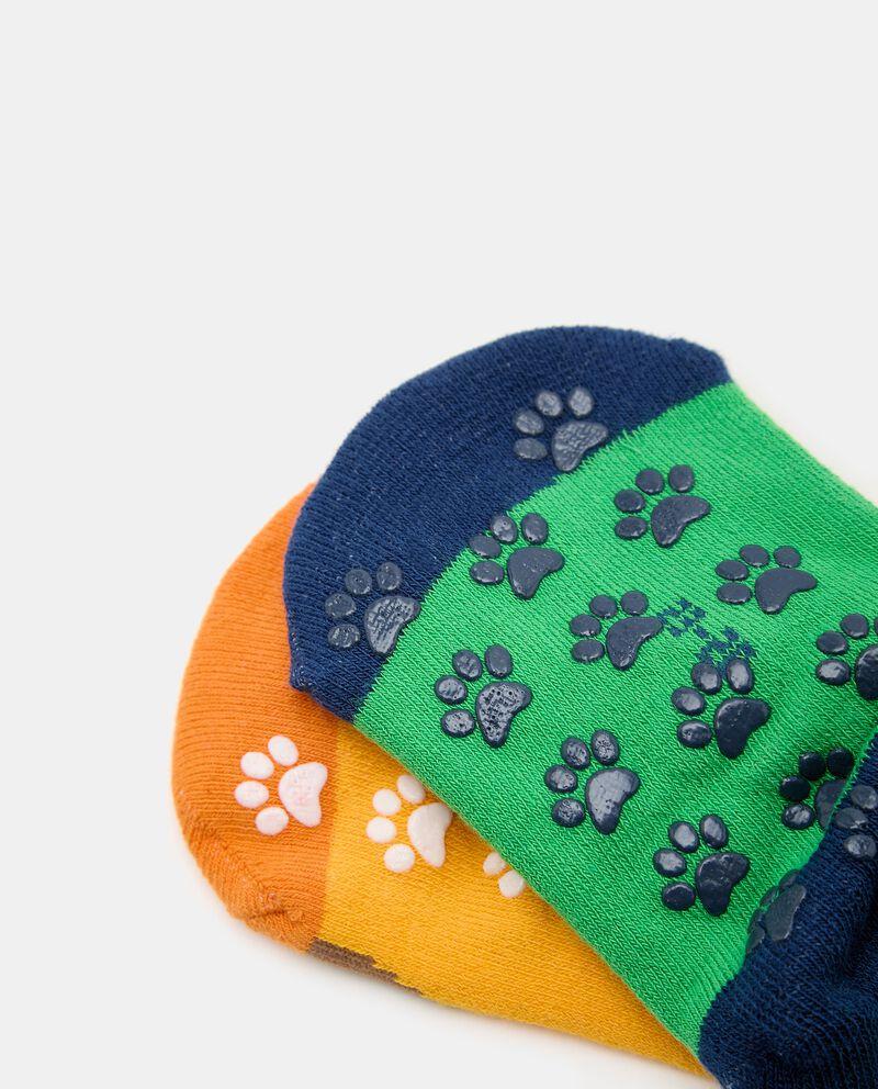 Bipack con 2 paia di calzini con antiscivolo in cotone organico bambino single tile 1