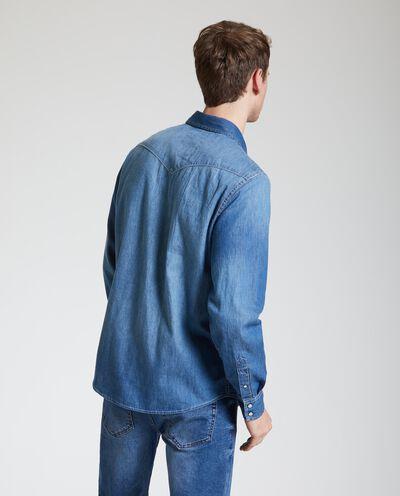 Camicia denim in puro cotone uomo