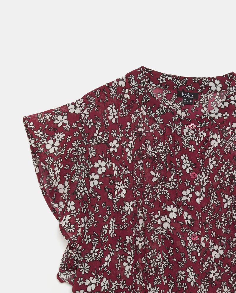 Blusa pieghine con fantasia floreale donna