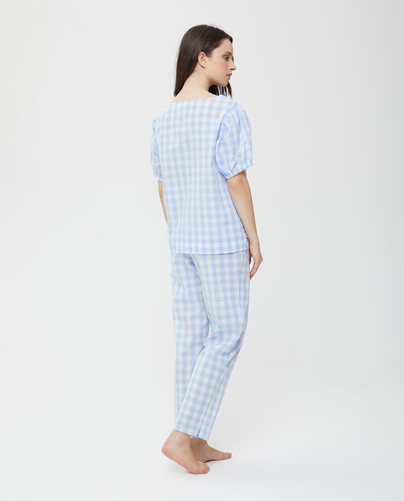 Top pigiama in puro cotone a quadri donna