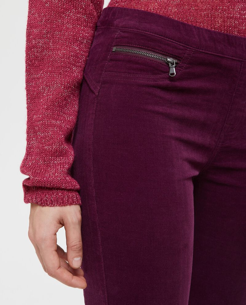 Pantaloni effetto velluto vita elasticata
