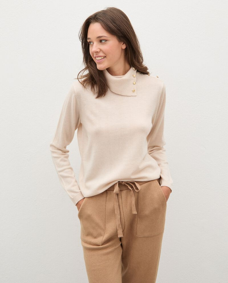 Maglia in lana collo alto con dettaglio bottoni donna cover