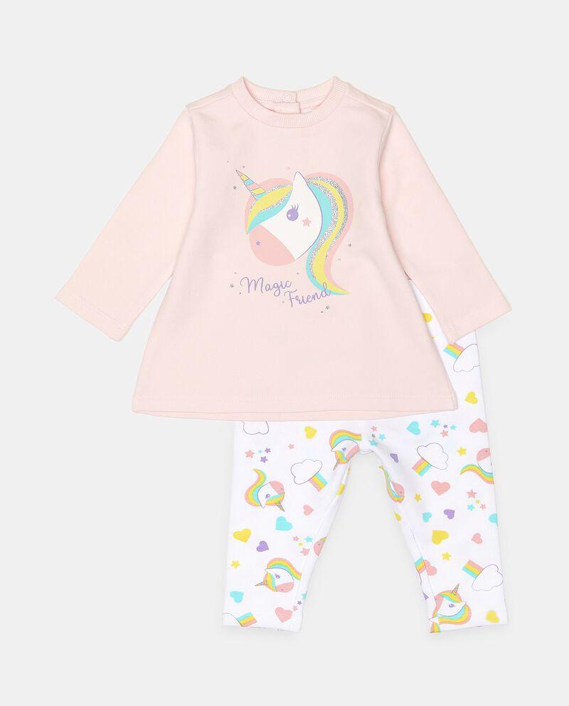 Set jogging in cotone elasticato con stampa neonata