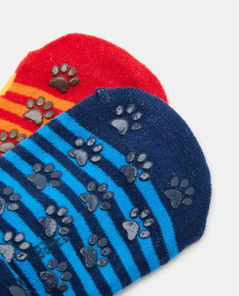 Bipack con 2 paia di calzini antiscivolo di cotone organico bambino single tile 1
