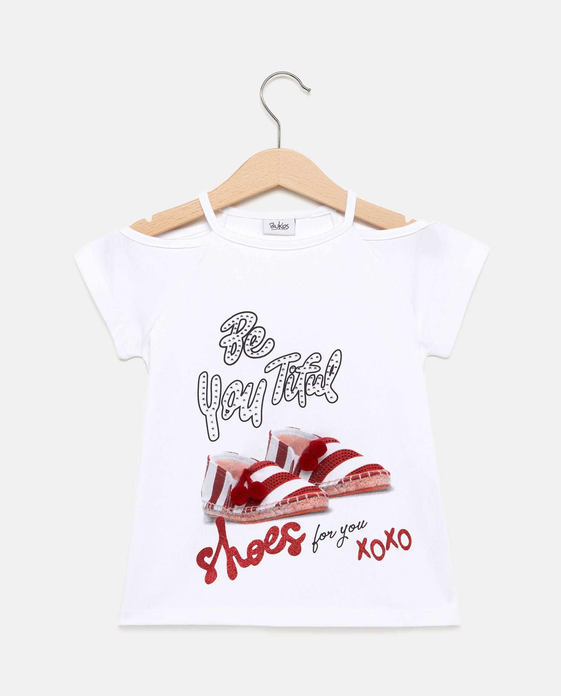 T-shirt bianca in cotone con spalle scoperte bambina