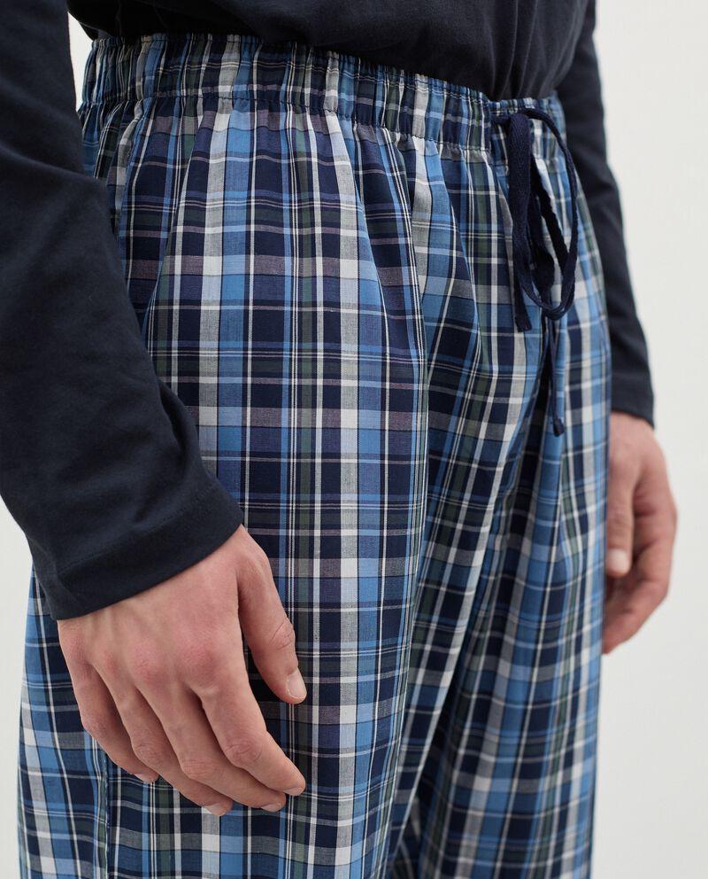 Pantaloni del pigiama con motivo a quadri in cotone uomo single tile 2