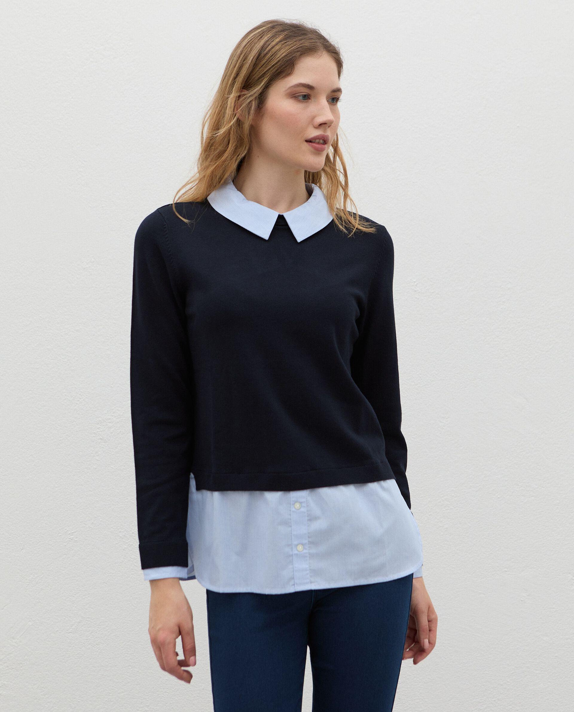Maglia con inserto camicia in viscosa donna
