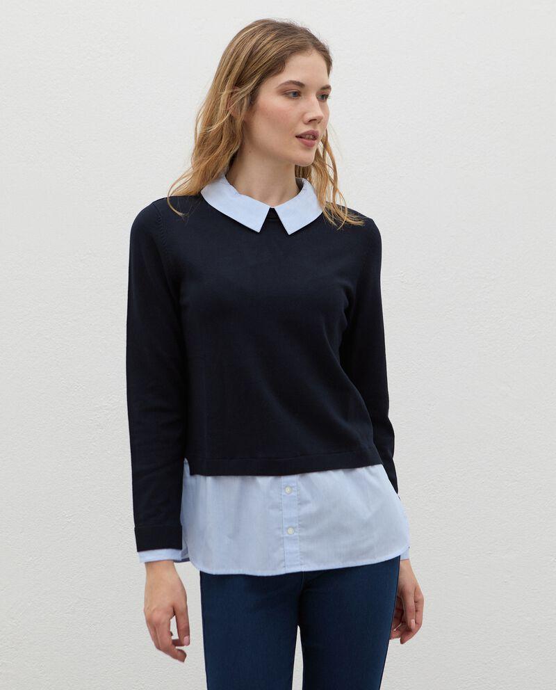 Maglia con inserto camicia in viscosa donna cover