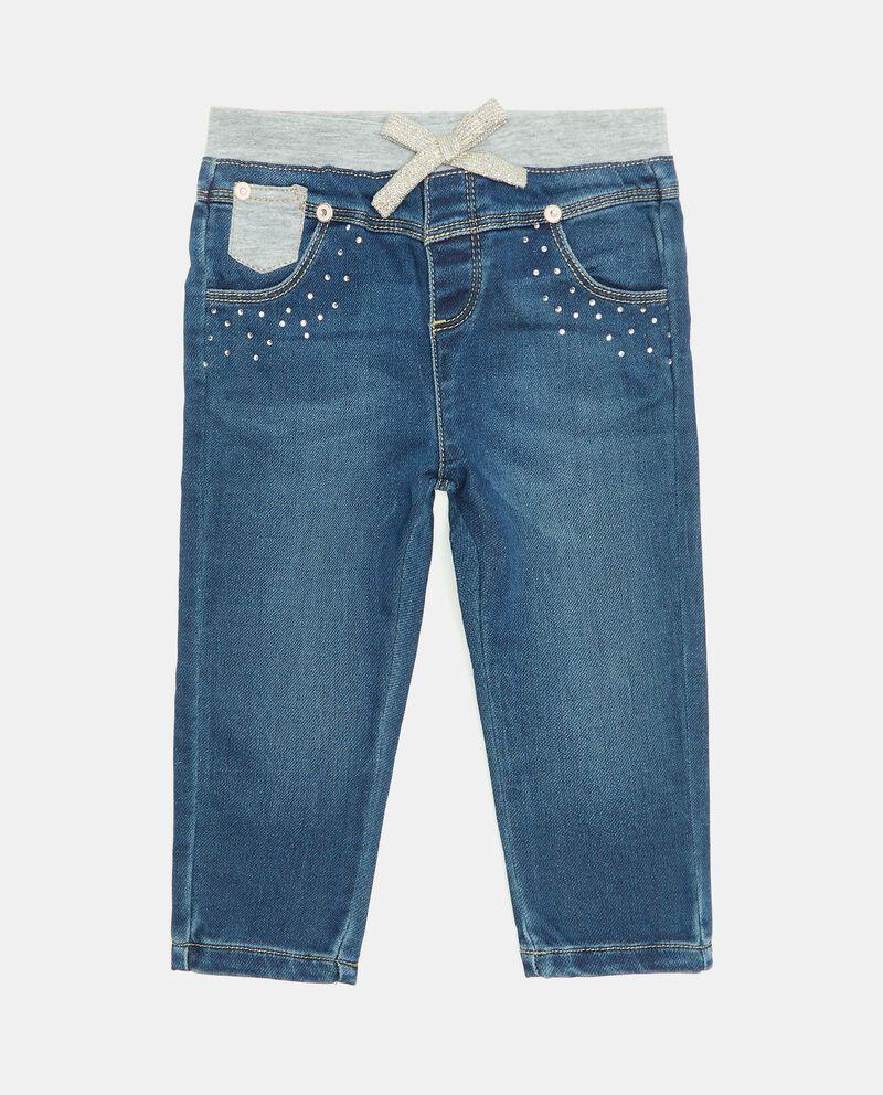 Pantalone in denim con strass neonata cover