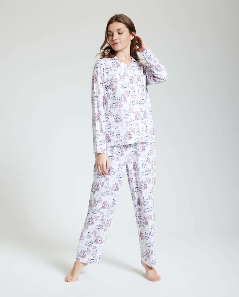 Set pigiama a fiori in puro cotone donna