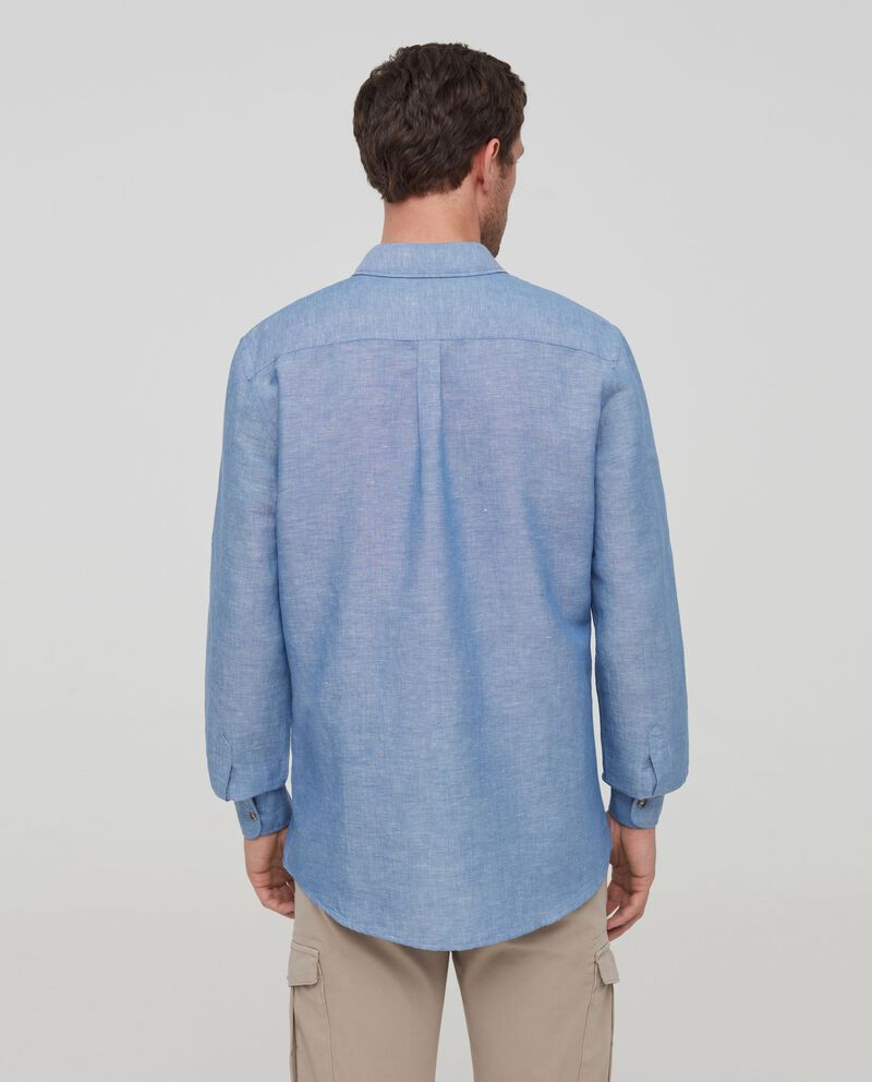 Camicia lino e cotone effetto fiammato