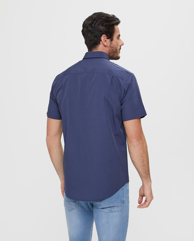 Camicia slim fit manica corta tinta unita blu