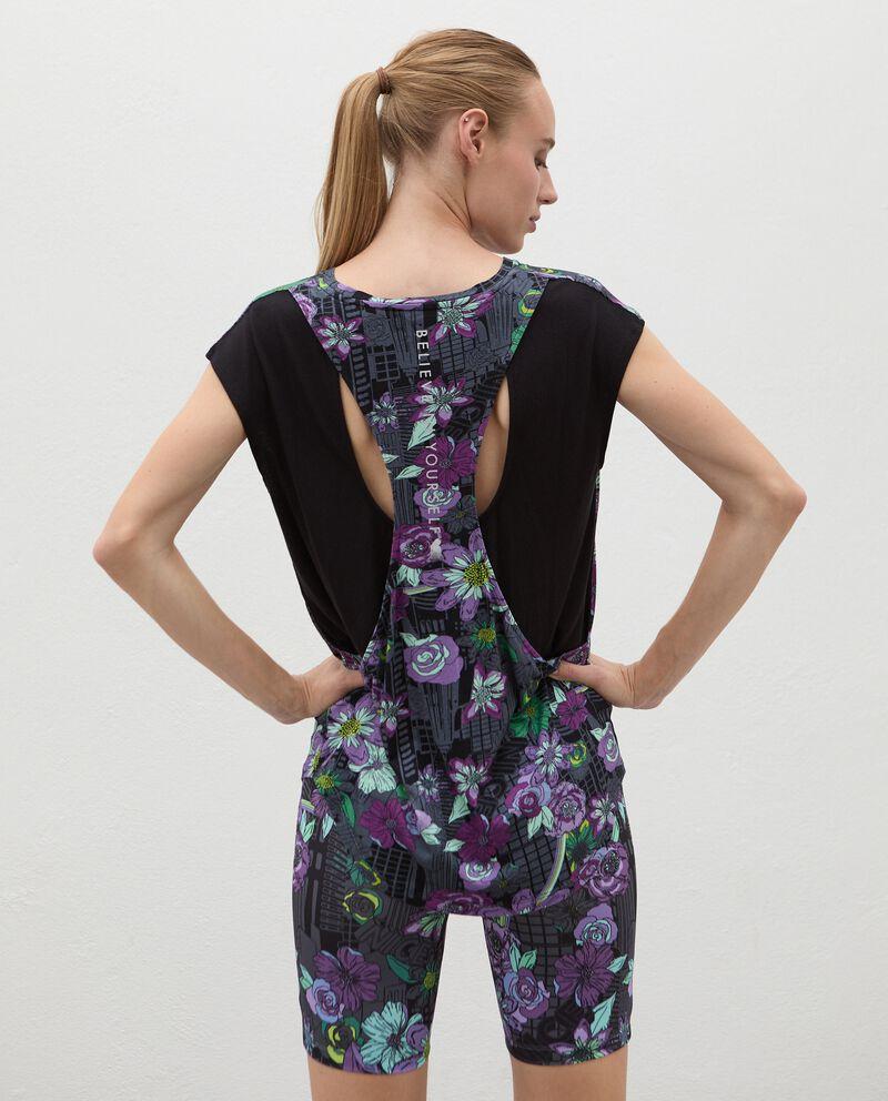 Top stampato con retro a contrasto Fitness donna single tile 1