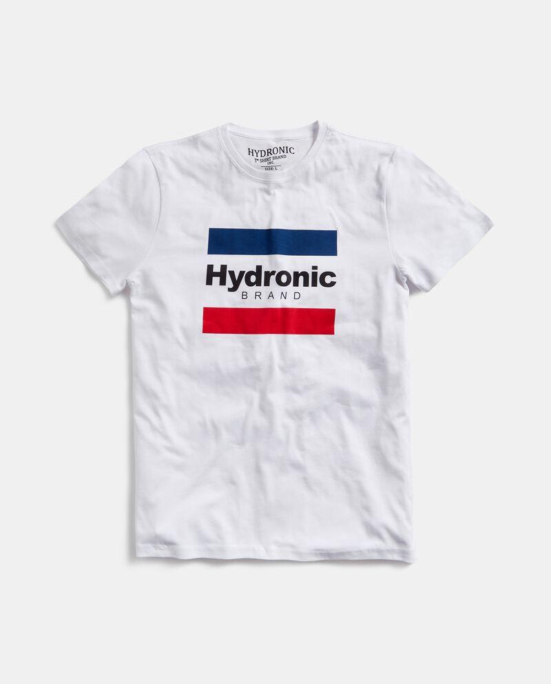 T-shirt in puro cotone con bande e lettering uomo