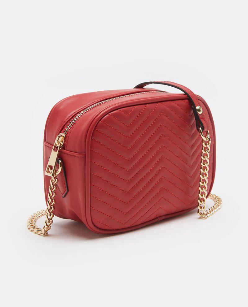 Camera bag rossa trapuntata a tracolla