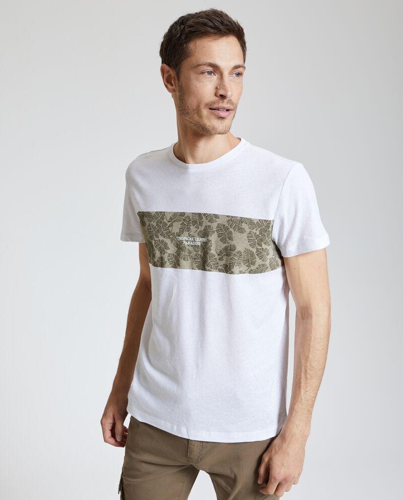 T-shirt stampata in cotone misto lino uomo
