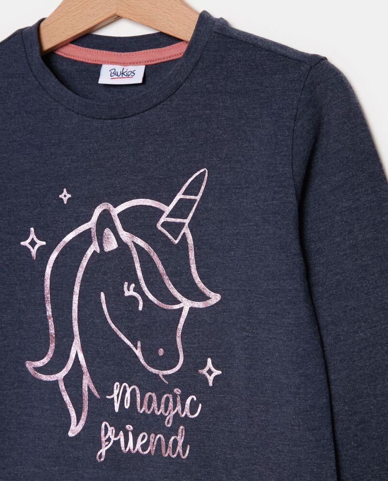 T-shirt a maniche lunghe con unicorno bambina