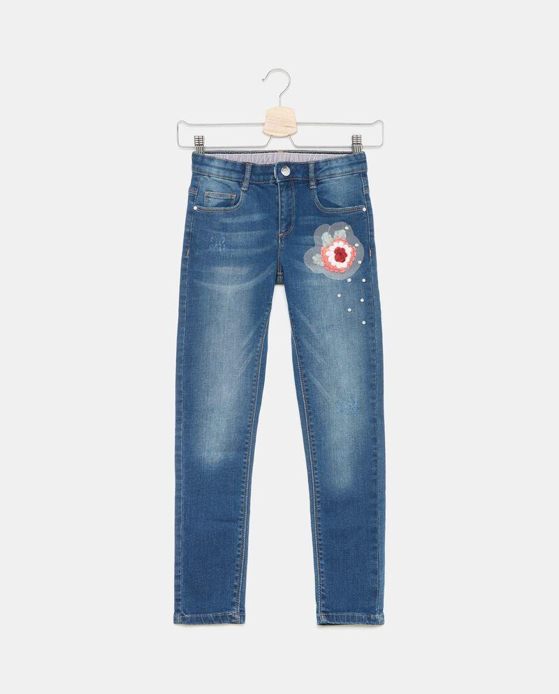 Jeans con fiore e perline bambina