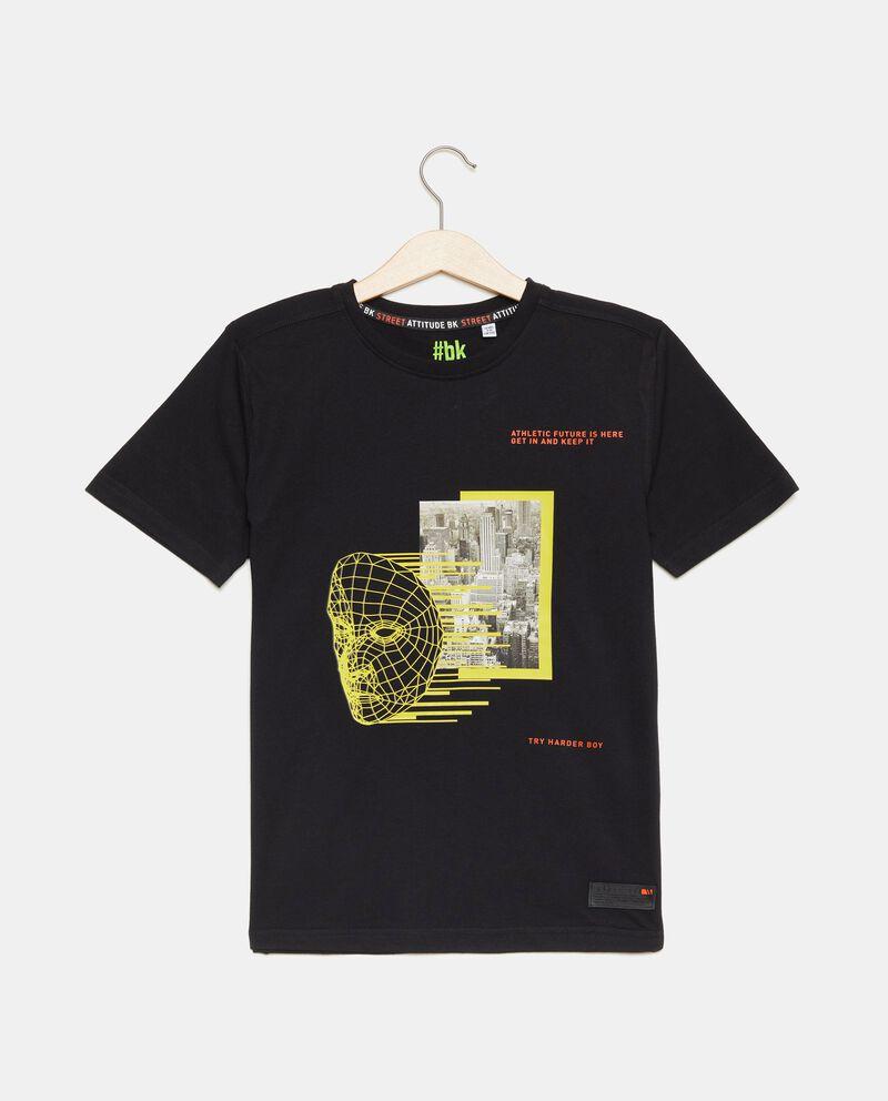 T-shirt in puro cotone con stampa ragazzo