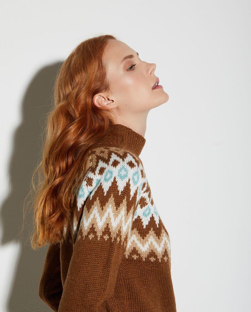 Maglione a collo alto con fantasia donna
