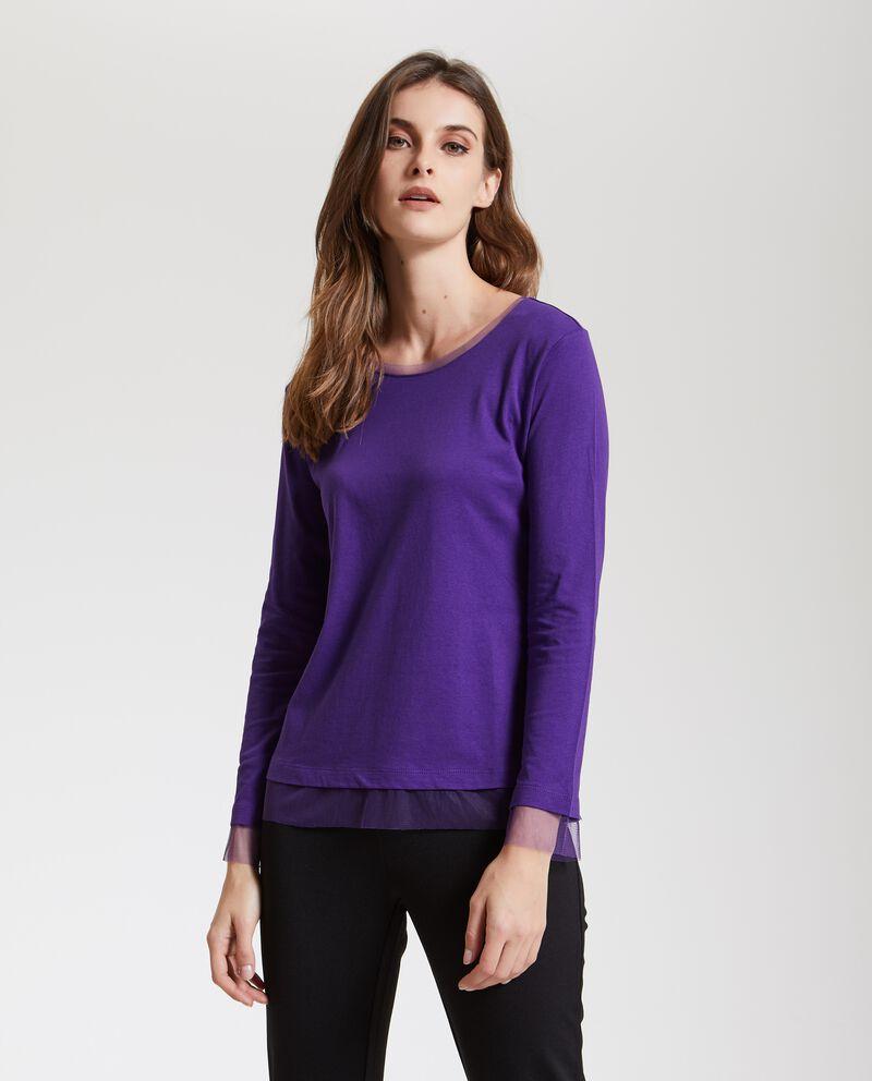 Maglietta con inserti in velo donna