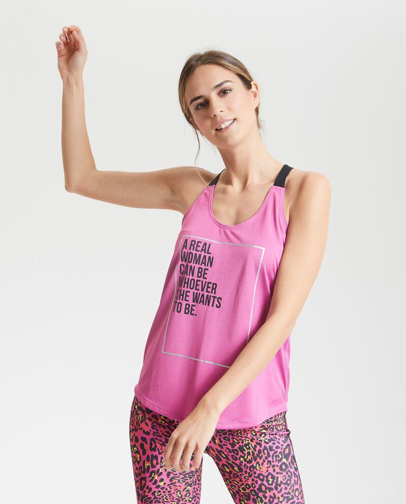 Canotta con lettering Fitness donna