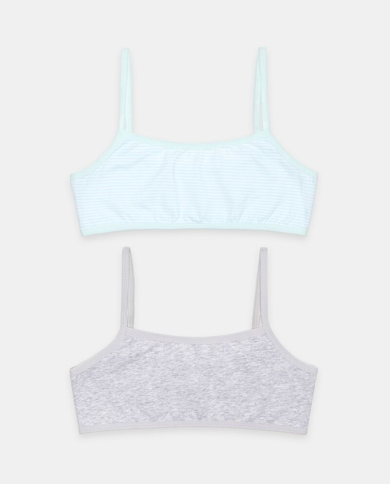 Bipack top di cotone elasticato bambina
