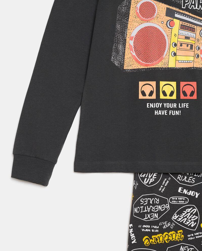 Pigiama con maglia e pantaloni in cotone organico ragazzo single tile 1