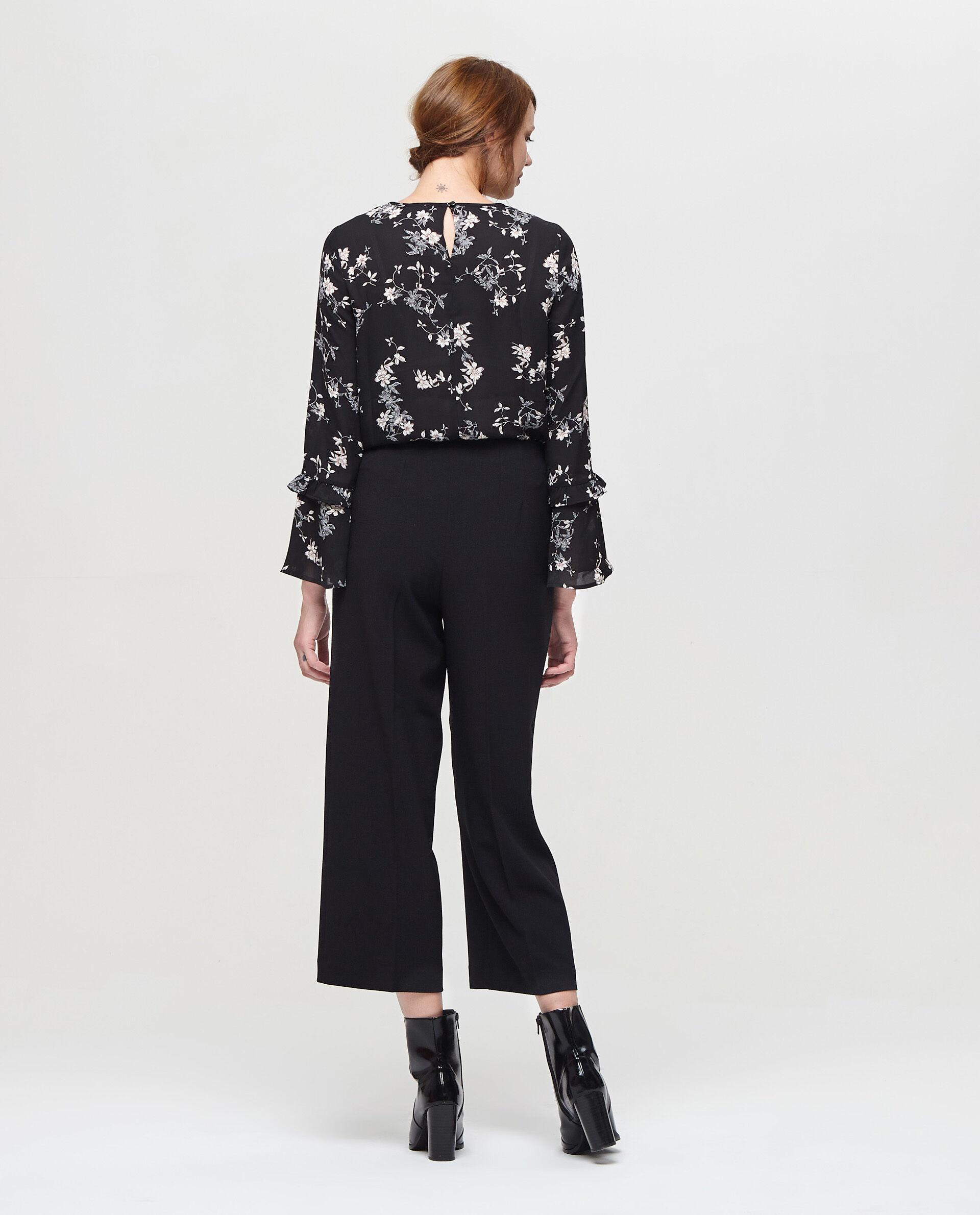 Pantaloni crop stretch tinta unita