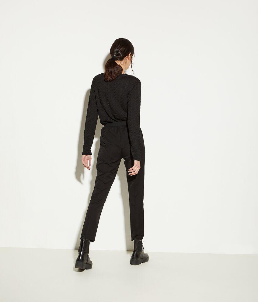 Pantaloni gabardine in tinta unita donna