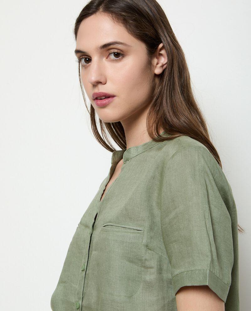 Camicia in puro lino tinta unita donna