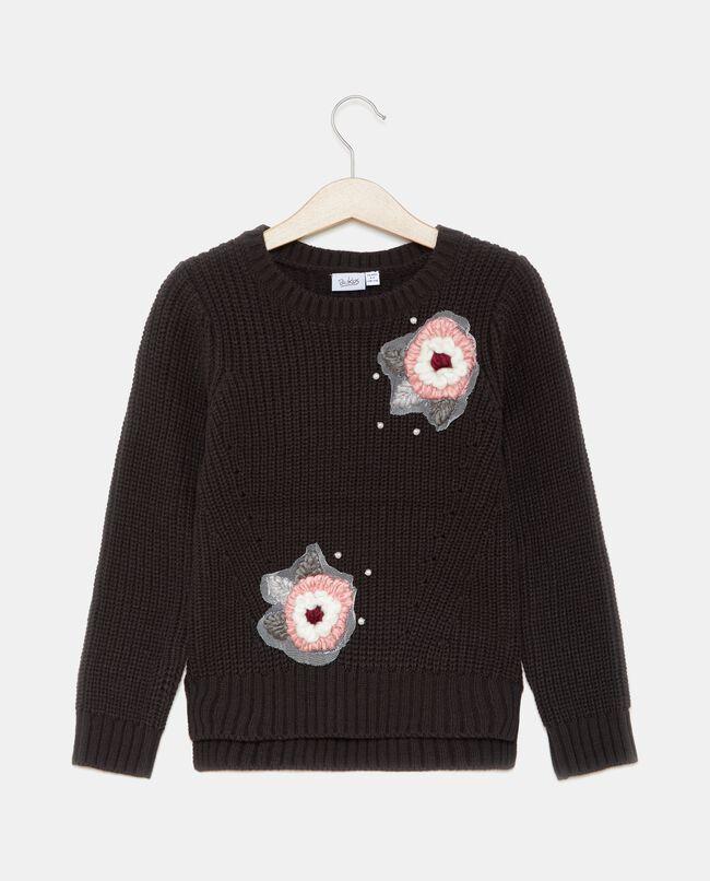 Maglione con fiori applicati bambina