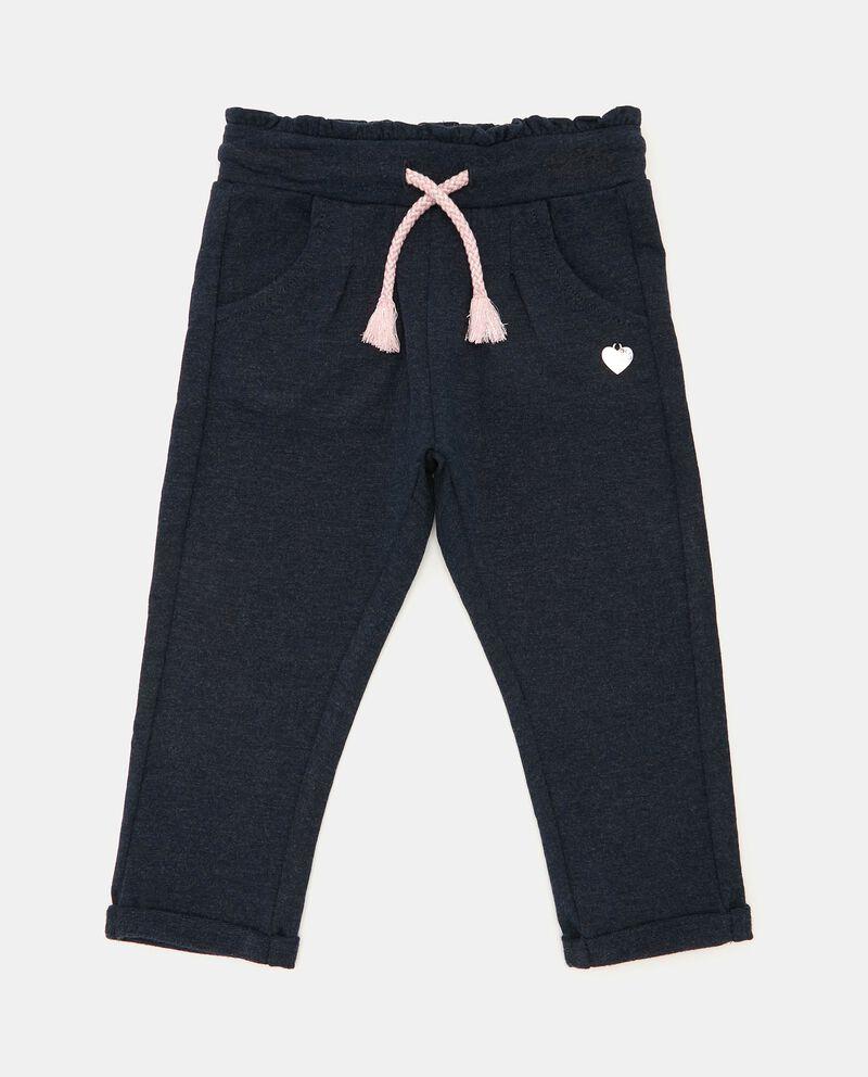 Pantaloni mélange con cordoncino neonata