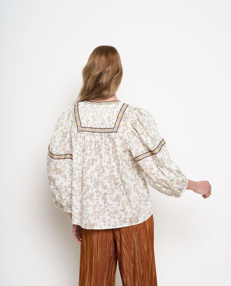 Camicia in cotone con stampa all over. Donna