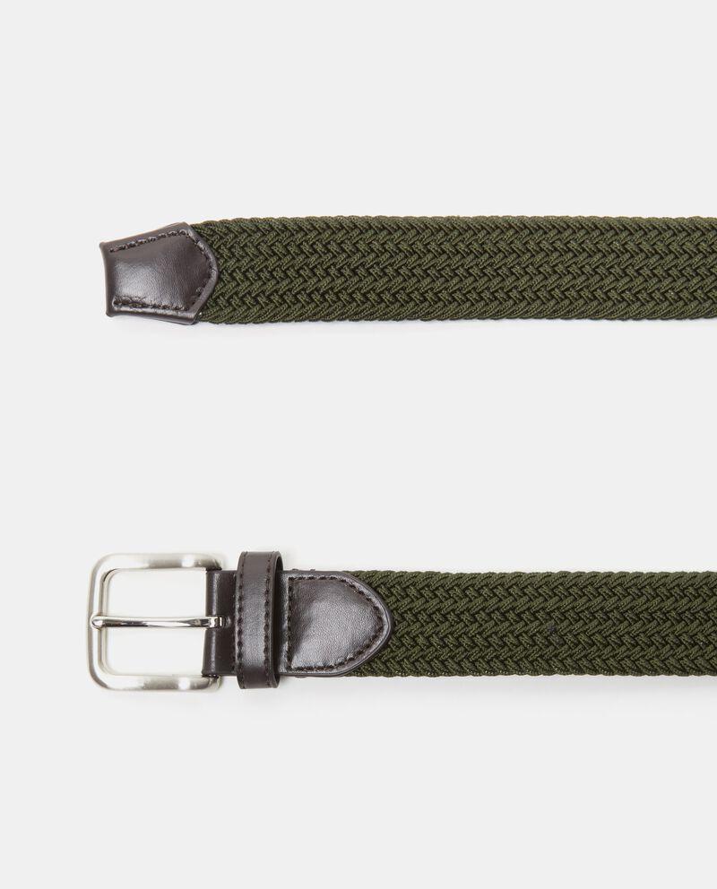 Cintura verde tinta unita intrecciata uomo