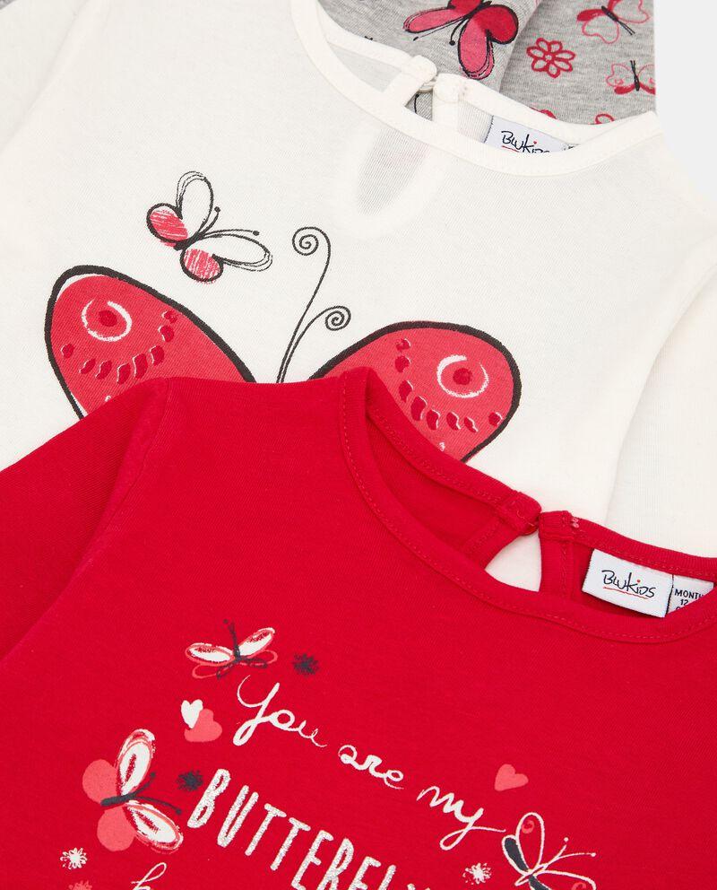 Pack con 3 t-shirt in cotone stretch neonata single tile 1