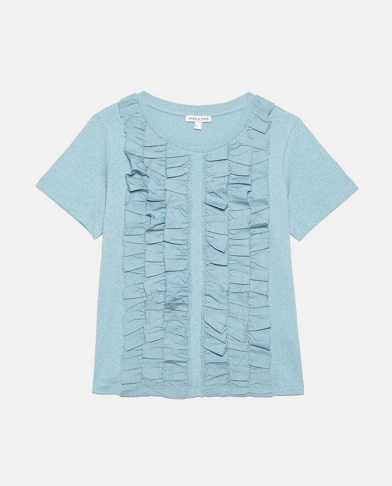 T-shirt puro cotone con balze ruche donna