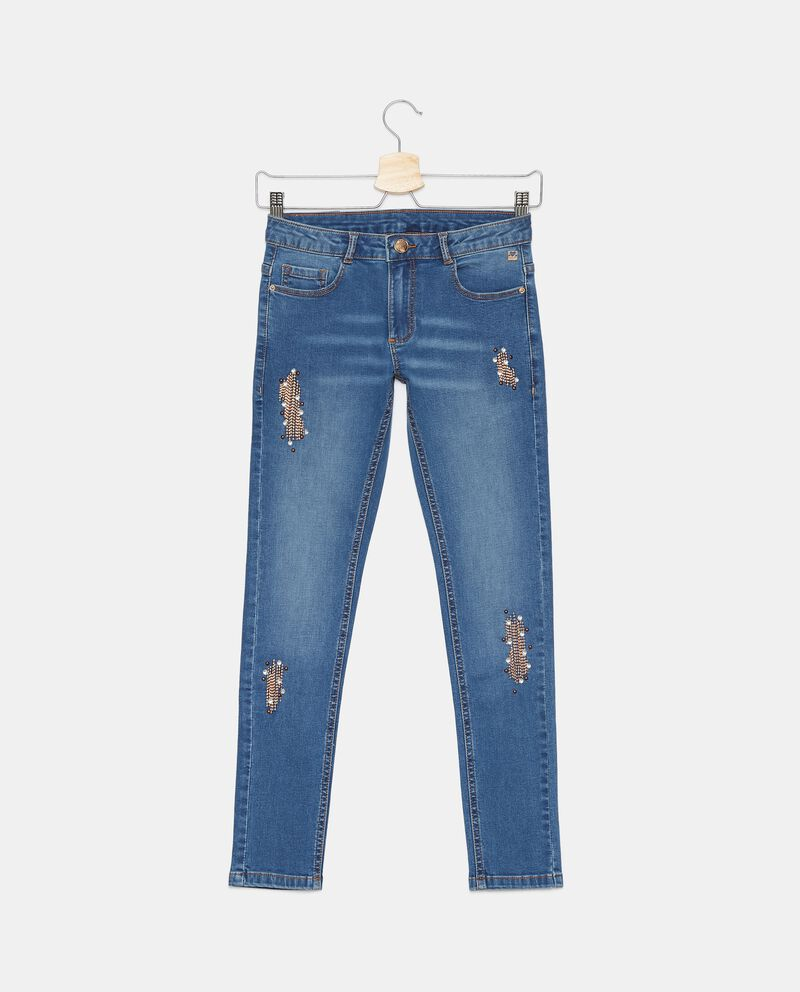 Jeans stretch con ricami ragazza cover