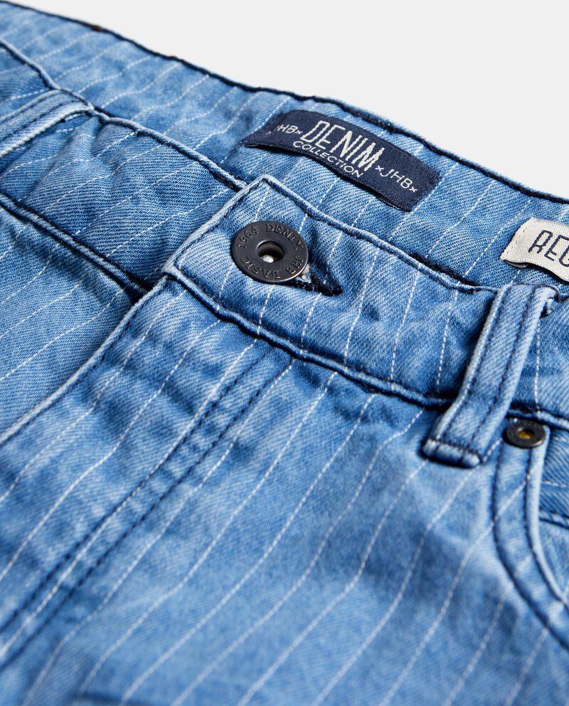 Bermuda jeans con righine puro cotone uomo