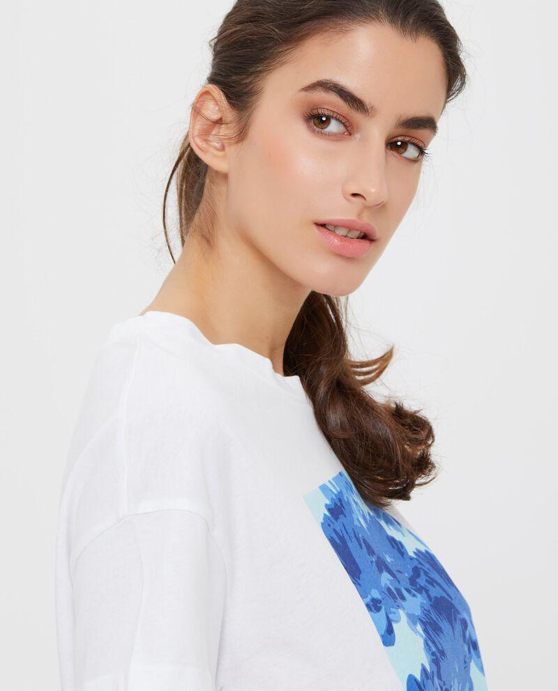 T-shirt con stampa fiori in puro cotone donna