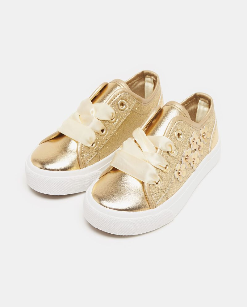 Sneakers effetto glitter e margherite