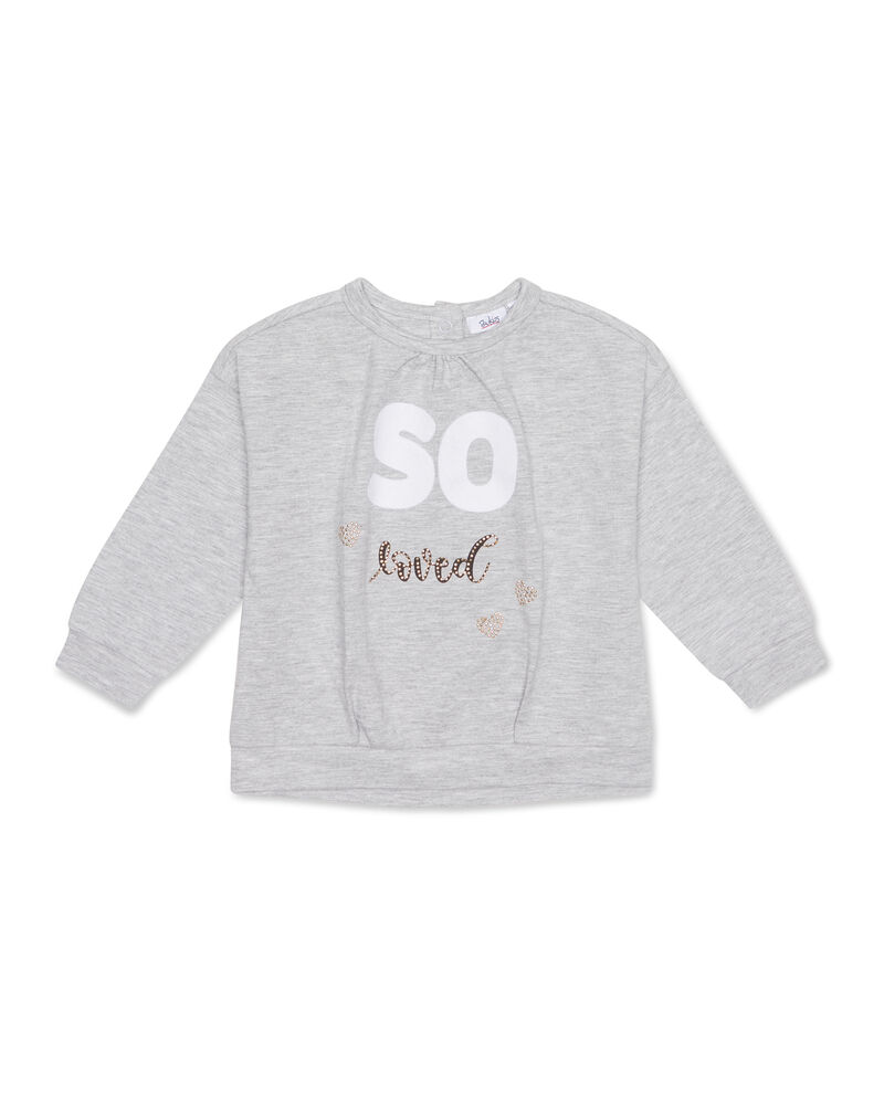 T-shirt mélange con stampa e strass