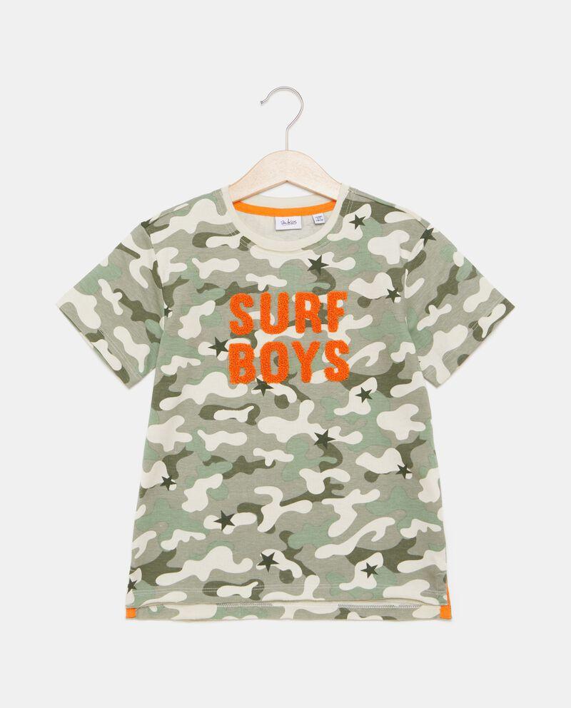 T-shirt in puro cotone con fantasia militare bambino