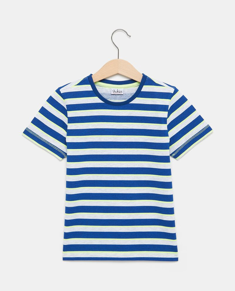 T-shirt in cotone blu con motivo a righe bambino
