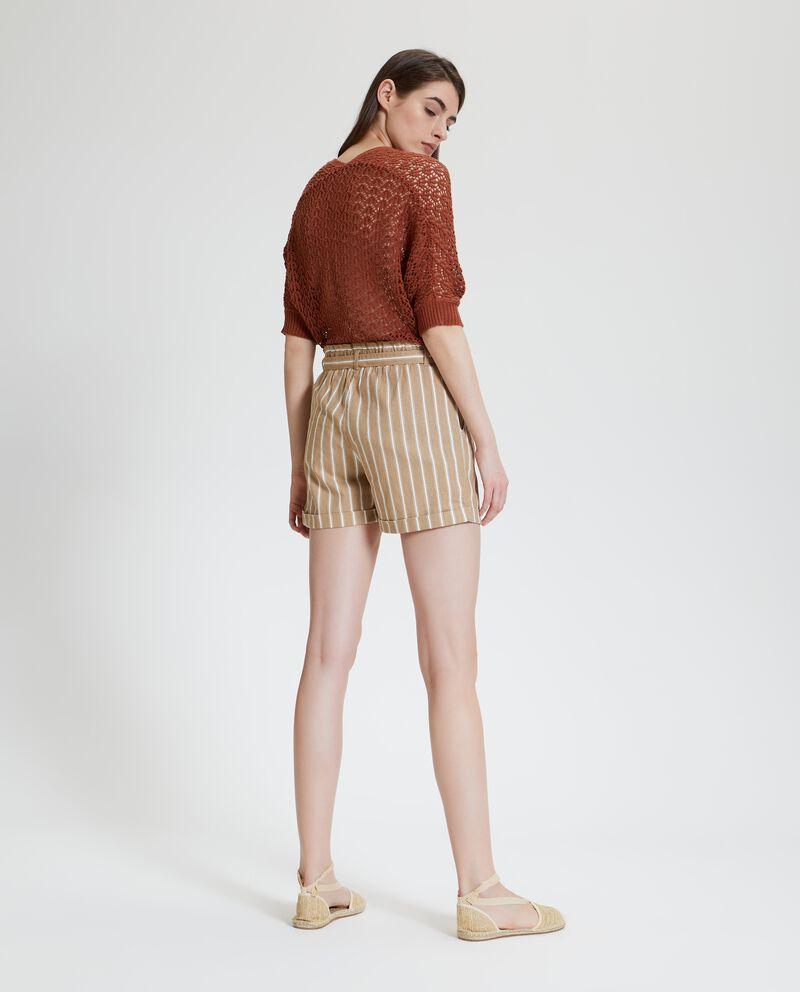 Shorts con motivo a righe in cotone misto lino donna